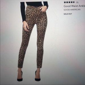 Good American Good Waist Ankle Leopard Jeans 16